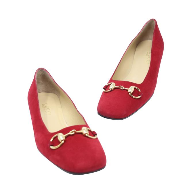 Item - Red Horsebit Gg Suede Leather Square Toe Loafer Formal Shoes Size US 9 Regular (M, B)