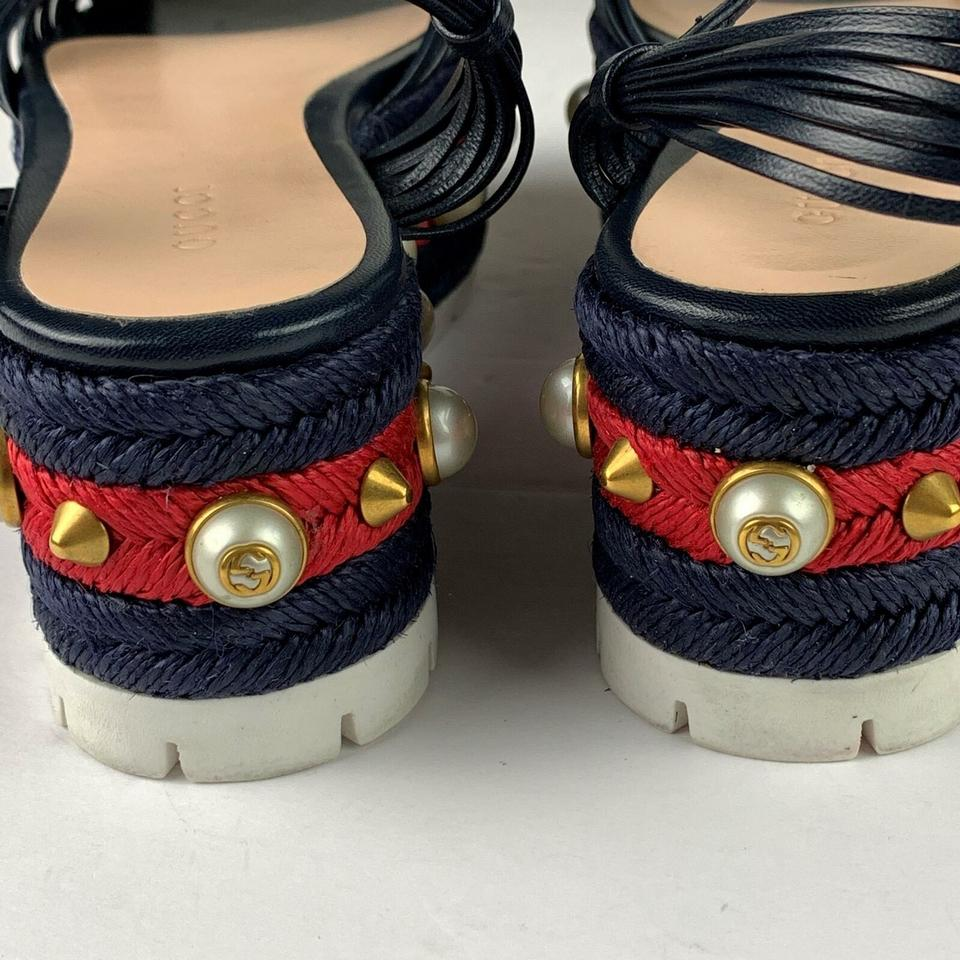 20067f1c11f Gucci Navy Blue Barbette Platform Studded Women New Without Box ...