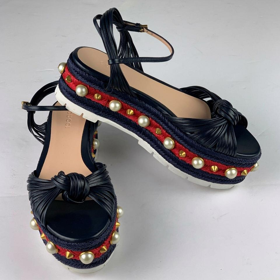 3832674f242 Gucci Navy Blue Barbette Platform Studded Women New Without Box Sandals  Size EU 36.5 (Approx. US 6.5) Regular (M