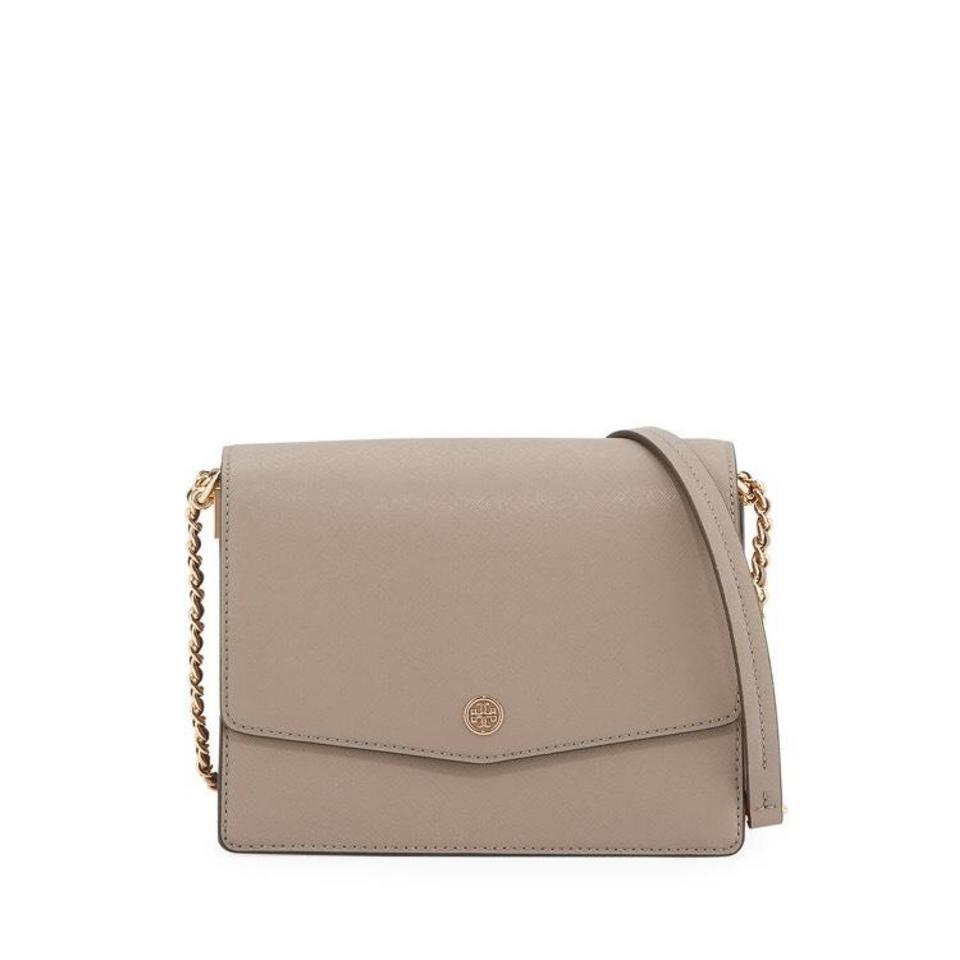 25c4f9ce1a7 Tory Burch Robinson Convertible Gray Heron Leather Shoulder Bag ...