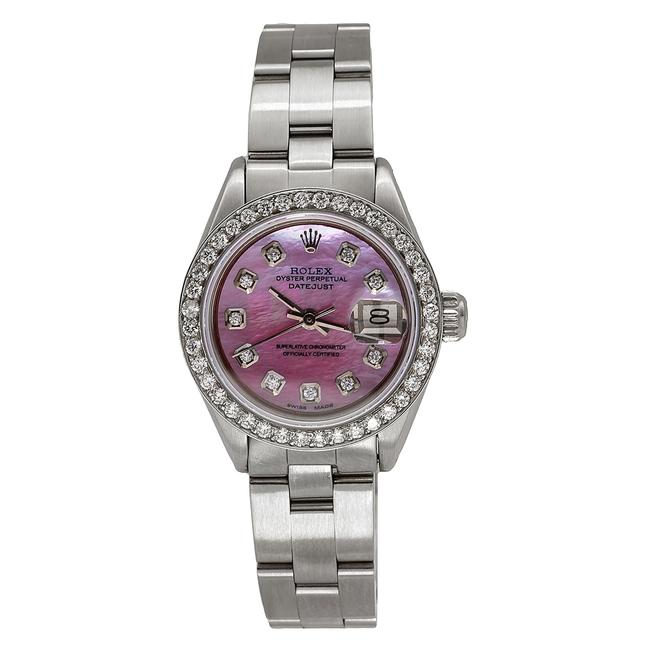 Rolex Stainless Steel with Pink Mop Dial Datejust 67193 26mm Mother Of Pearl 1.3ct Diamond Watch Rolex Stainless Steel with Pink Mop Dial Datejust 67193 26mm Mother Of Pearl 1.3ct Diamond Watch Image 1