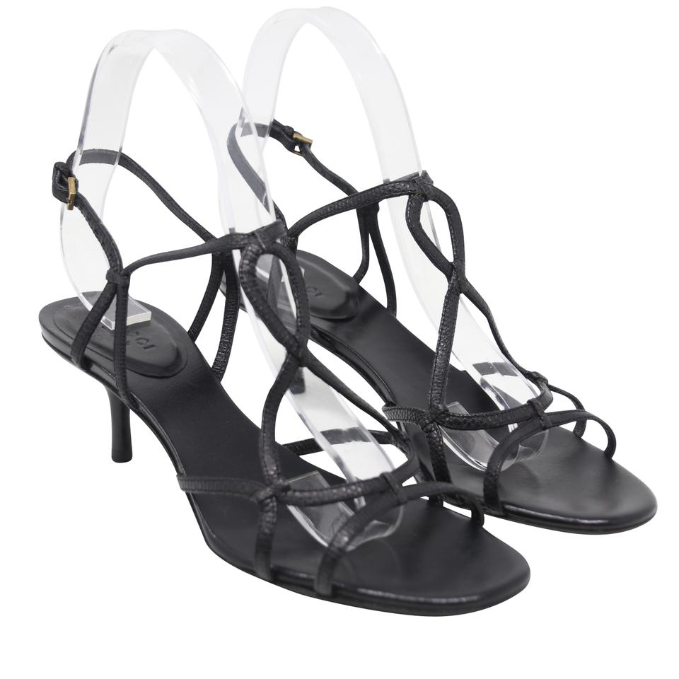 533bf19a6d5b Gucci Black Snakeskin Python Leather Strappy Heels B Sandals Size US ...