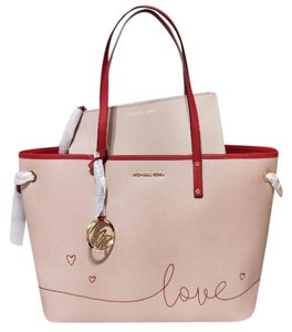 1fe888862154 Added to Shopping Bag. Michael Kors Tote in ballet pink red multicolors. Michael  Kors Drawstring Reversible W Pouch Ballet Pink Red Multicolors Leather Tote