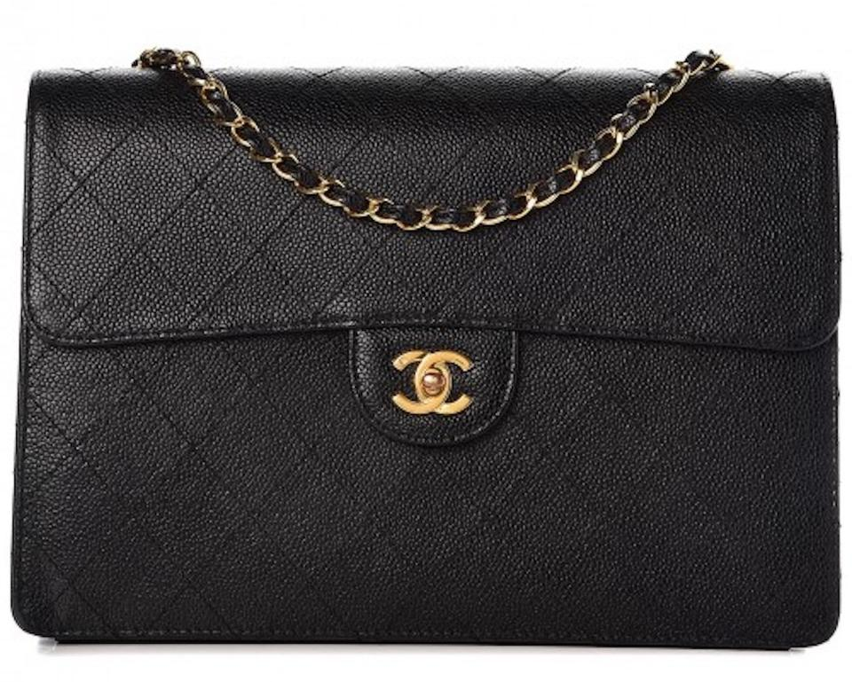 d43ad6480c15 Chanel 2.55 Reissue Box Classic Jumbo Flap Quilted Caviar Cc Logo Crossbody  Frame Black Gold Calfskin Leather Shoulder Bag