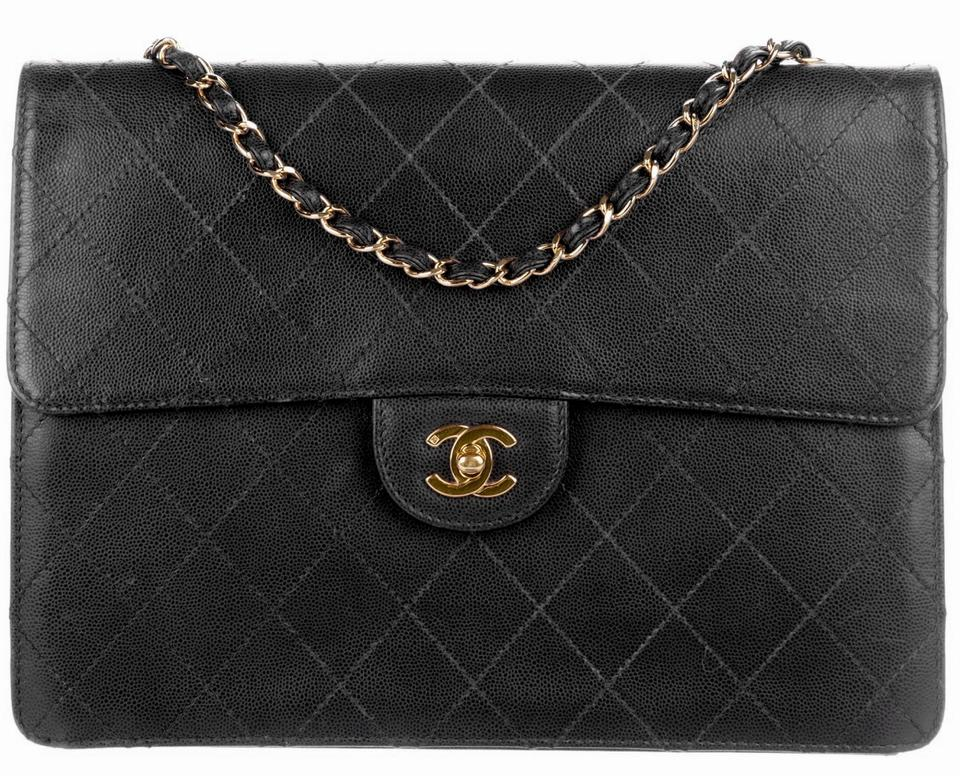 36d581bdd844 Chanel 2.55 Reissue Box Classic Jumbo Flap Quilted Caviar Cc Logo Crossbody  Frame Black Gold Calfskin Leather Shoulder Bag - Tradesy