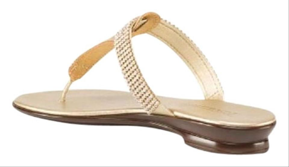 514df034f7f Italian Shoemakers Gold Toscanella Made In Italy Primo Rhinestone Thong  Sandals