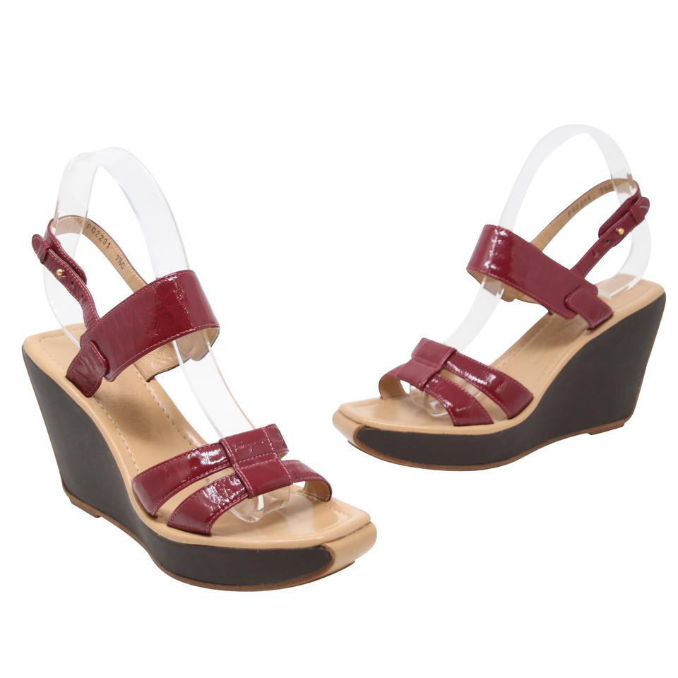 0cd1cd3ec15ad Salvatore Ferragamo Red Patent Leather Strappy Square Toe Heel Sandals 7.5c  Wedges Size US 7.5 Wide (C, D) 86% off retail