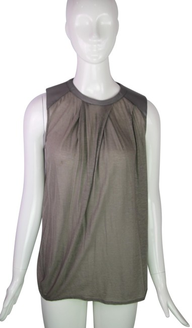 Item - Grey Faux Leather Accent Tank Top/Cami Size 4 (S)