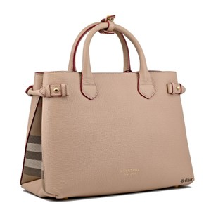 268ba5a02f00 Added to Shopping Bag. Burberry Satchel in Pale Apricot. Burberry Medium  Banner Check Pale Apricot Leather Satchel
