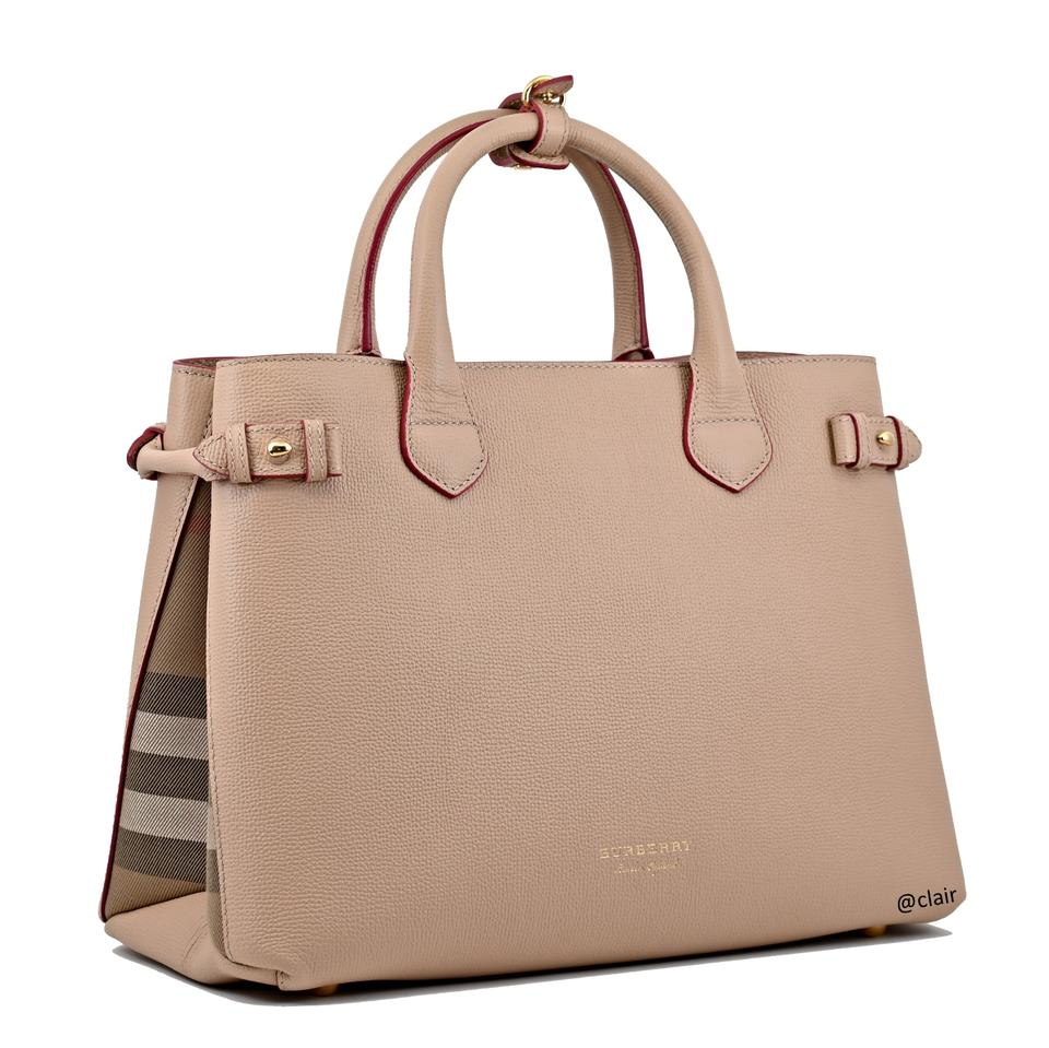 205b097ad9a7 Burberry Medium Banner Check Pale Apricot Leather Satchel - Tradesy