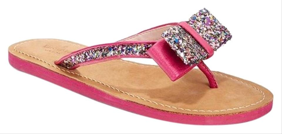 e4b1b38ea Kate Spade Pink Multi Icarda Glitter Bow Sandals Size US 6.5 Regular ...