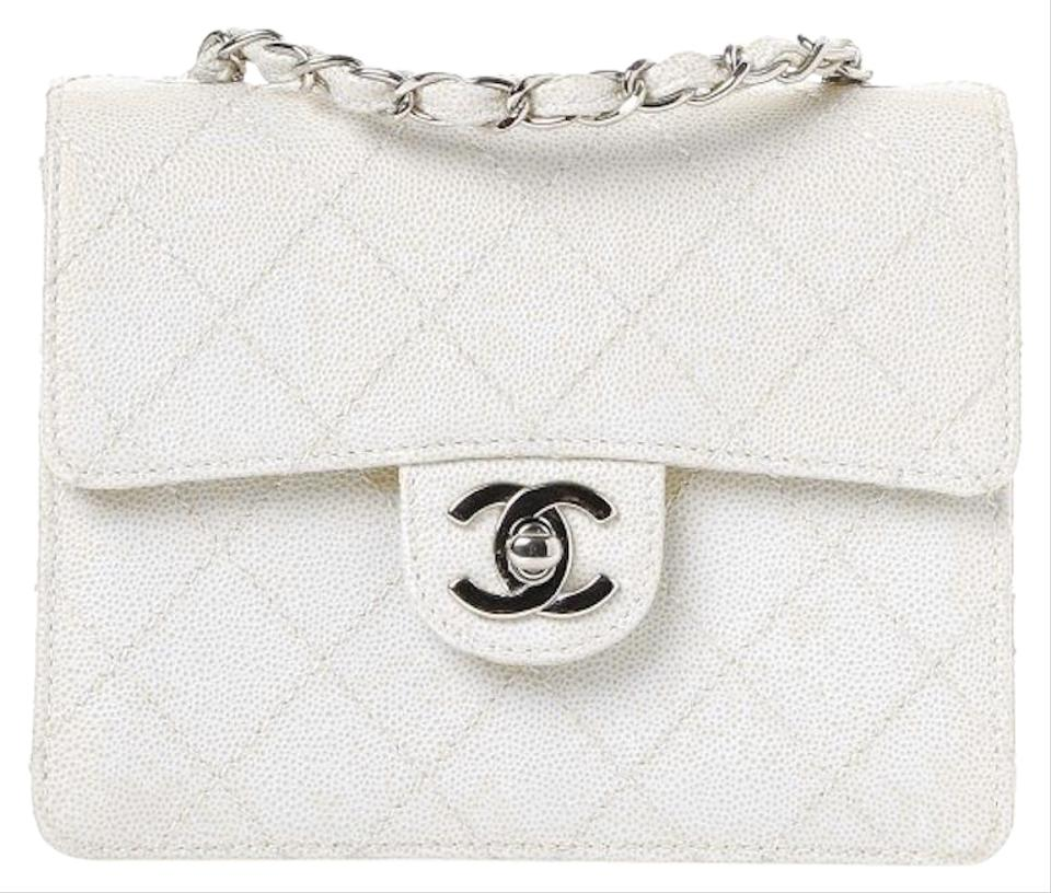c43754b14594 Chanel 2.55 Reissue Box Classic Mini Flap Quilted Caviar Cc Logo Crossbody  Frame White Silver Calfskin Leather Shoulder Bag