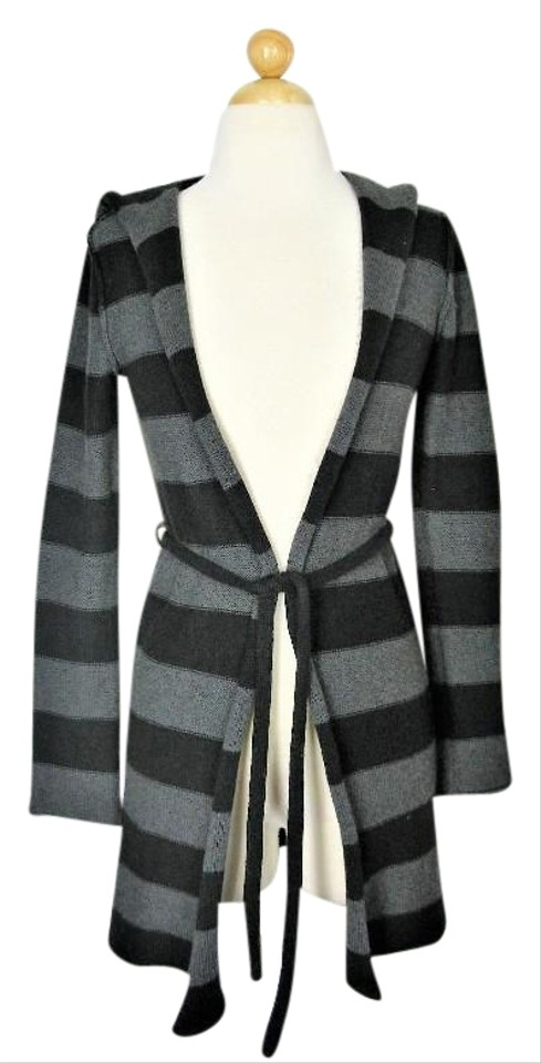 2ca9313a006 Gap Black & Grey Striped Long Hooded Duster Cotton Cashmere Blend Cardigan  Size 4 (S) 47% off retail