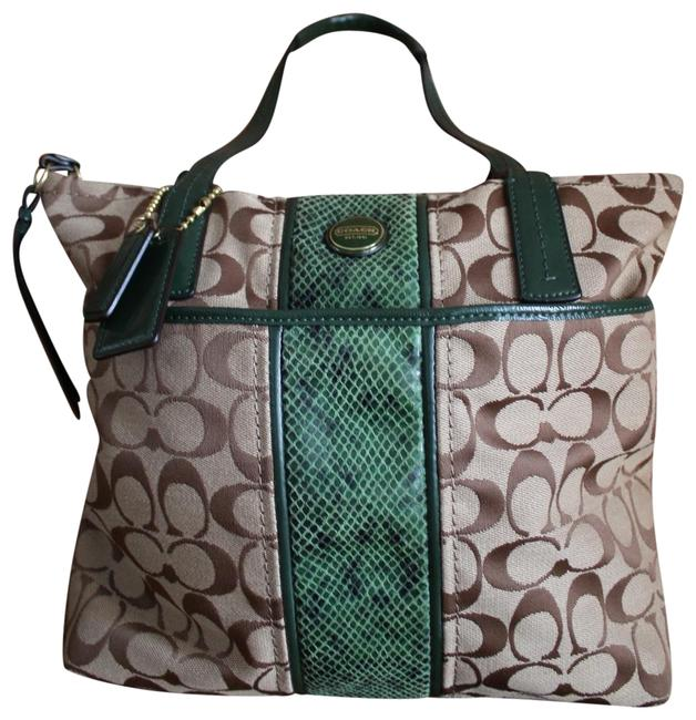 Coach Signature Stripe Python Stripe Tote (F25706) Cross Body Bag Coach Signature Stripe Python Stripe Tote (F25706) Cross Body Bag Image 1