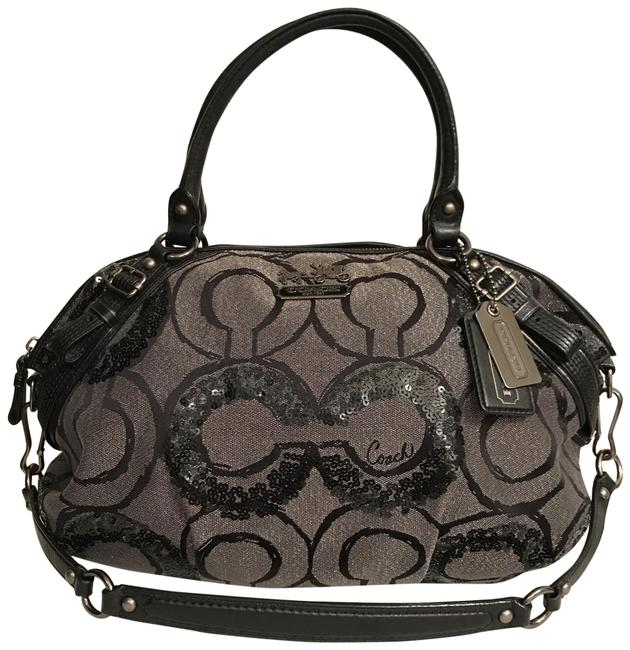 Item - Sophia Rare Madison Sequin Op Art 15940 Silver Gray Black Gunmetal Satin Satchel