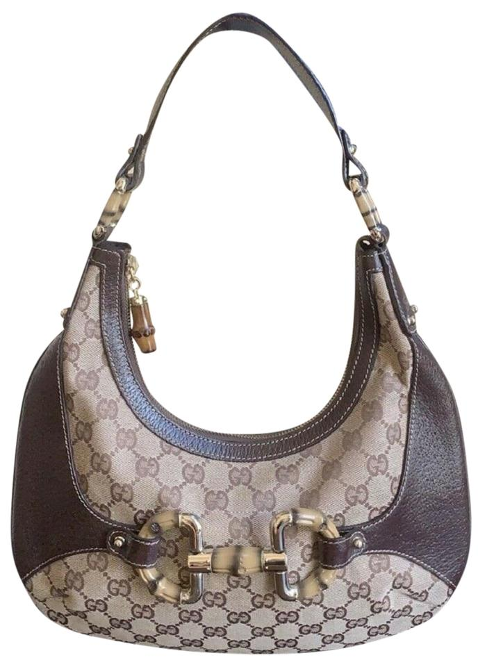 e72be184c510 Gucci Gg Bamboo Amalfi Small Shoulder Beige/Brown Canvas Leather Hobo Bag