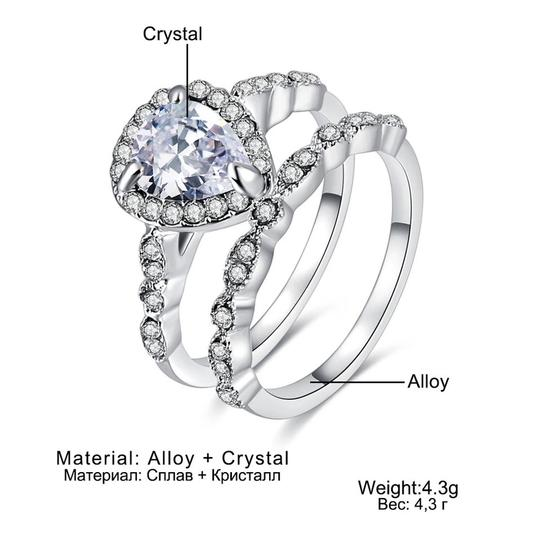 Fashion Engagement Woman Heart Zircon Ring Double Rings Set Bijoux Fine or Fashion Fashion Item Type Rings Style Trendy Occasion Wedding Surface Width 3mm Rings Type Wedding Bands is_customized Yes Material Crystal Metals Type Zinc Alloy Shape\pattern Heart Setting Type Pave Setting Gender Women Function Women Ring Compatibility Heart Zircon Ring Feature High Quality Color Silver Color Season Spring Summer Fall Winter 2018 New Design Woman Engagement Band Ring Fashion Engagement Woman Heart Zircon Ring Double Rings Set Bijoux Fine or Fashion Fashion Item Type Rings Style Trendy Occasion Wedding Surface Width 3mm Rings Type Wedding Bands is_customized Yes Material Crystal Metals Type Zinc Alloy Shape\pattern Heart Setting Type Pave Setting Gender Women Function Women Ring Compatibility Heart Zircon Ring Feature High Quality Color Silver Color Season Spring Summer Fall Winter 2018 New Design Woman Engagement Band Ring Image 3