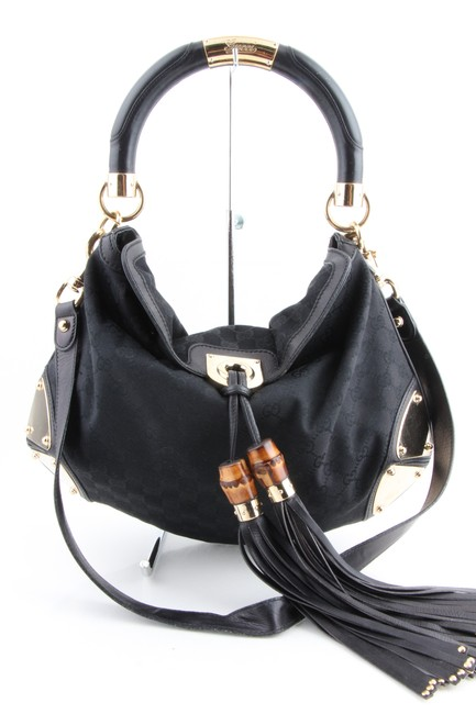 Gucci Indy Guccissima Large Black Canvas Hobo Bag Gucci Indy Guccissima Large Black Canvas Hobo Bag Image 1