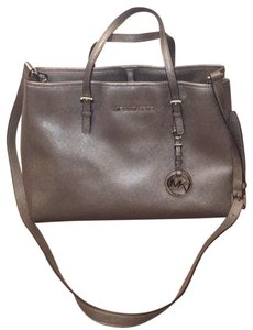 17a5e3bbbb93 Michael Kors Clara Large Leather And Charcol Suede Tote - Tradesy