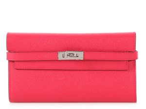 Hermès Rose Extreme Epsom Leather Kelly Long Wallet