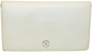 Chanel Chanel White Caviar Leather Long Wallet