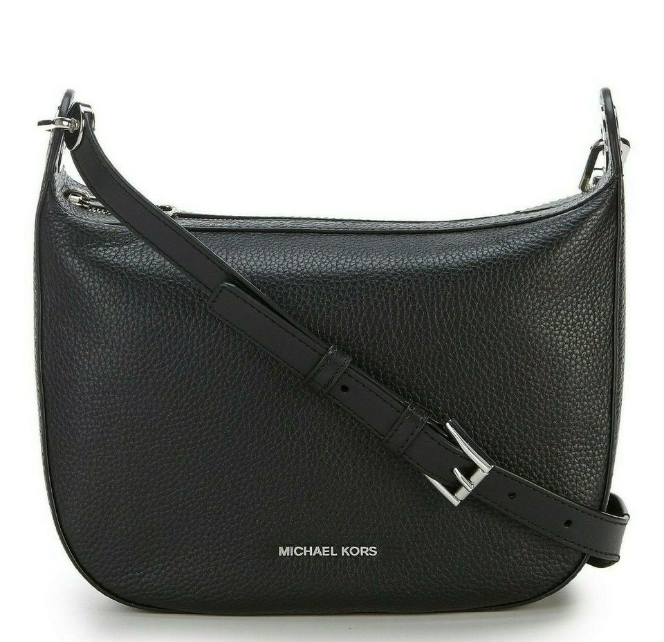 0094669d7cd1 Michael Kors Barlow Medium Pebbled Black Silver Leather Messenger ...