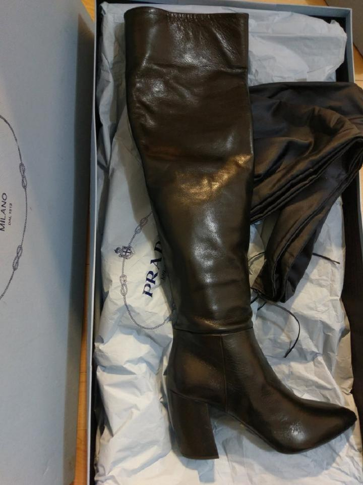 6792f11304e Prada Black Leather Over-the-knee Boots Booties Size EU 38 (Approx ...