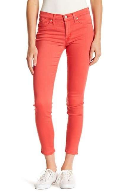 Item - Coral Red Medium Wash Natalie Mid Rise Ankle Skinny Jeans Size 27 (4, S)