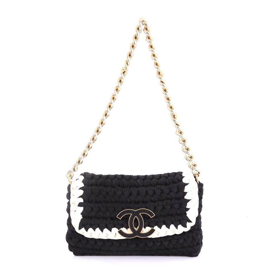 c260c8007b68 Chanel Classic Flap Fancy Crochet Small Black and White Fabric ...