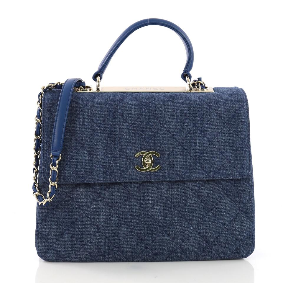 528037e2b114b6 Chanel Top Handle Bag Trendy Cc Quilted Large Blue Denim Tote - Tradesy