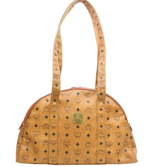 MCM Rare Large Cognac Monogram Visetos Dome Tote 870245 Brown Coated Canvas Shoulder Bag MCM Rare Large Cognac Monogram Visetos Dome Tote 870245 Brown Coated Canvas Shoulder Bag Image 1