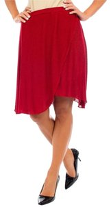 Michele Knee Length Skirt Red/Taupe