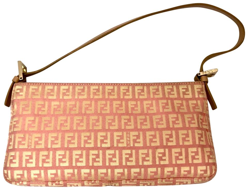 40c554c7e Fendi Medium Zucchino Top Zip In Pink Gold Canvas Shoulder Bag - Tradesy