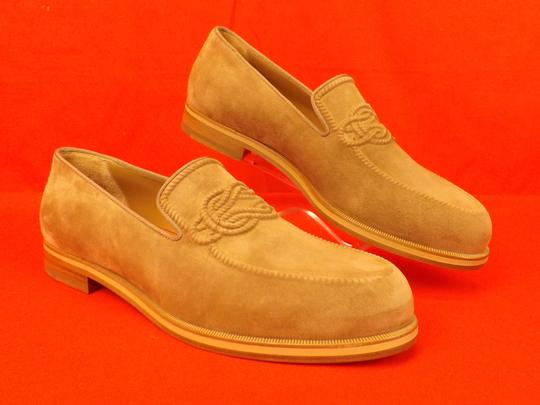 Christian Louboutin Beige Dirk Suede Leather Lined Knot Embossed Loafers 43 10 Shoes Image 0