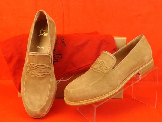 Christian Louboutin Beige Dirk Suede Leather Lined Knot Embossed Loafers 43 10 Shoes Image 1