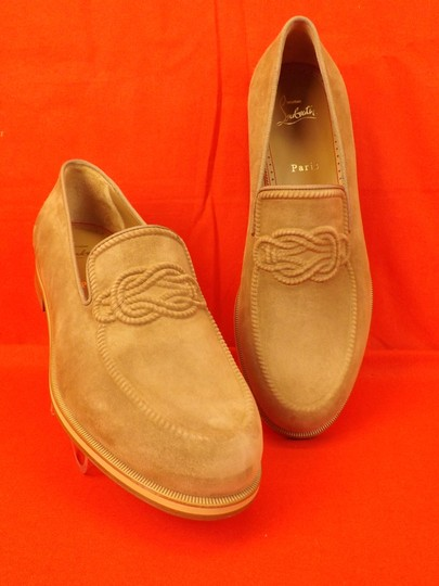 Christian Louboutin Beige Dirk Suede Leather Lined Knot Embossed Loafers 43 10 Shoes Image 3