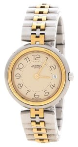 Hermès Cream Gold-Plated Stainless Steel Clipper Women's Wristwatch 25 mm