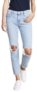 Current/Elliott Ripped Denim Destroyed Relaxed Fit Jeans-Distressed