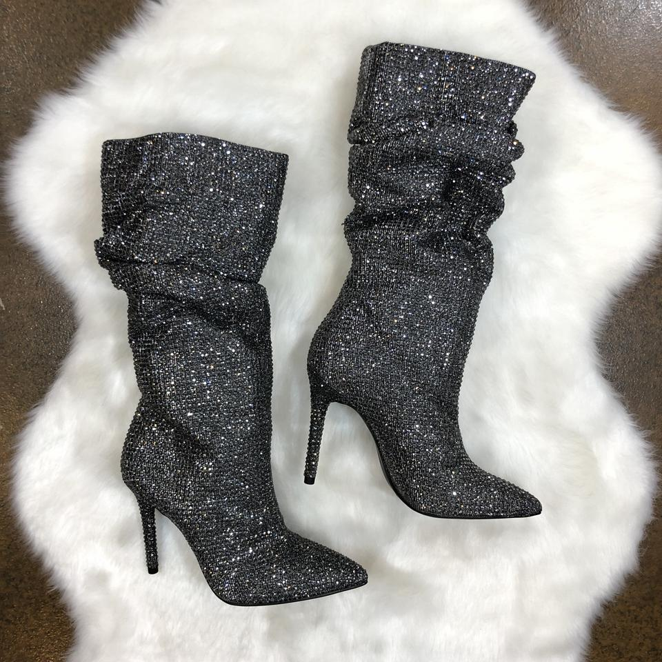 f20933d150d Jessica Simpson Embellished Crystal Rhinestone Night Out Party Pewter Multi  Boots Image 11. 123456789101112
