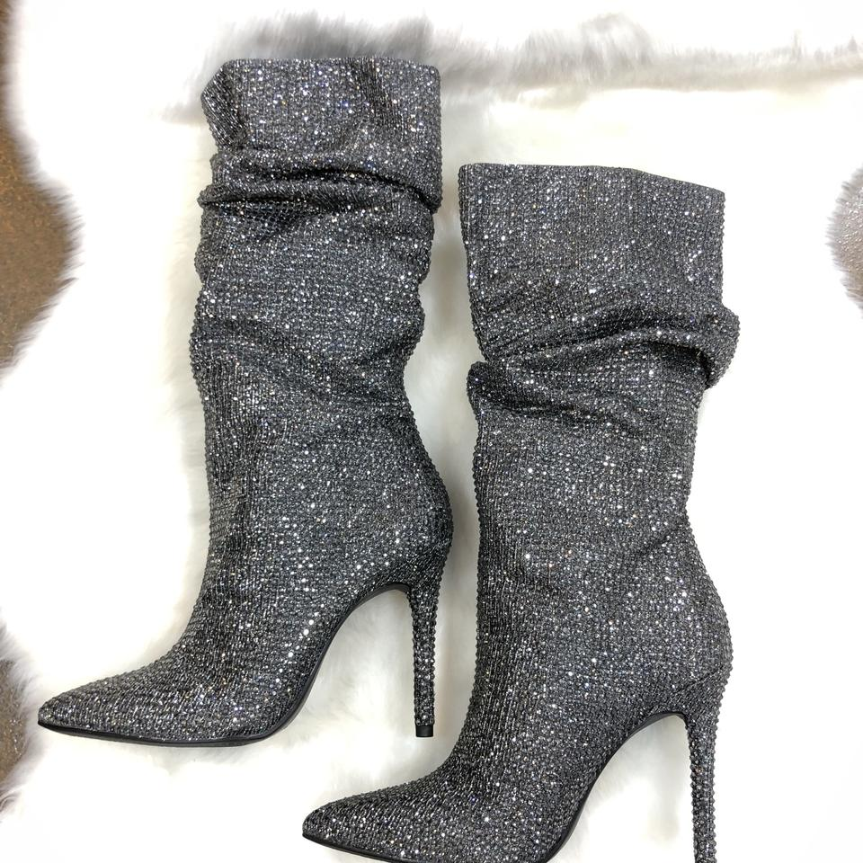 b4dd4cd1090fda Jessica Simpson Embellished Crystal Rhinestone Night Out Party Pewter Multi  Boots Image 11. 123456789101112