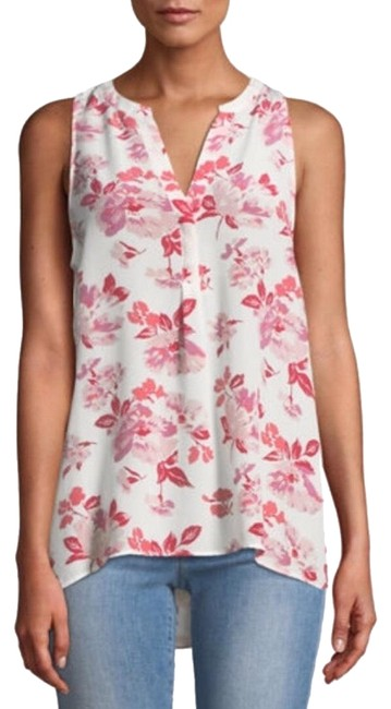Item - White Aruna Pink Floral Sleeveless Silk Blouse Work Office Shirt Tank Top/Cami Size 12 (L)
