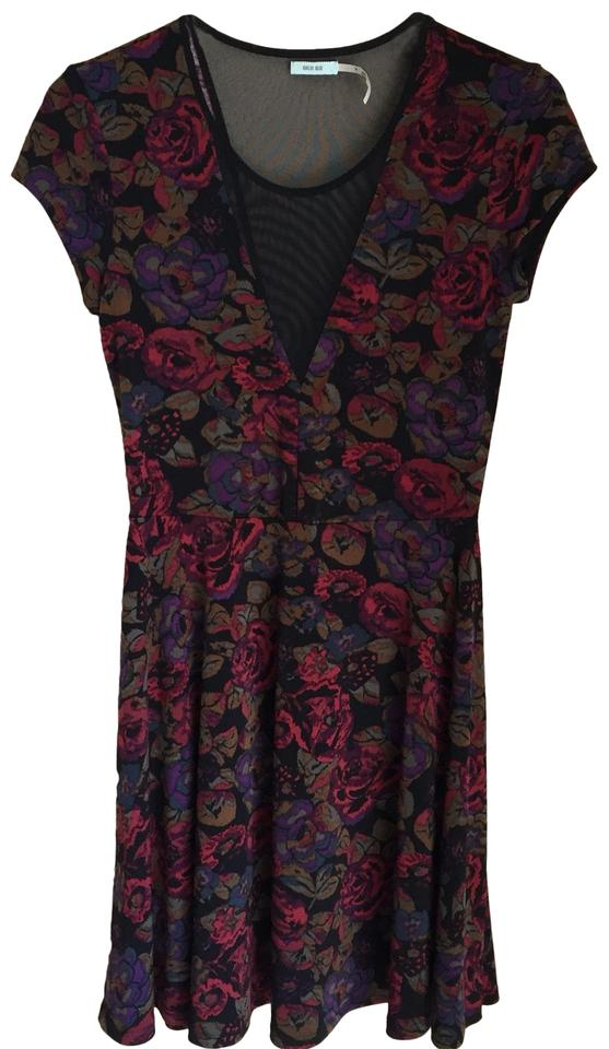 a09f03f47b2 Urban Outfitters Black Red Multi Uo Kimchi Blue Mesh Floral Pattern Skater Casual  Dress