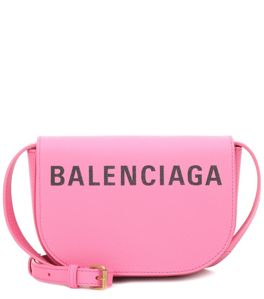 9567f20a32 Balenciaga Ville Day Xs Aj Printed Textured-leather Shoulder Pink ...
