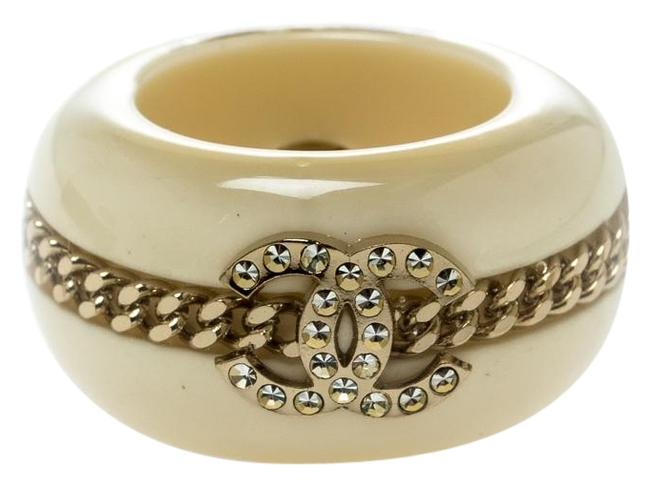 Item - Cream Cc Crystal Chain Embellished Resin Wide Band Size 53 Ring