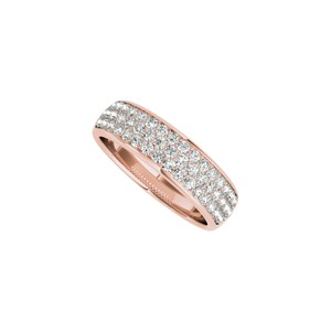 Marco B Three Rows CZ Wedding Band for Women in 14K Rose Gold