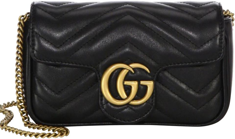 21b343726299 Gucci Mini Marmont Gg Matelassé Quilted Leather Super Black Cross ...