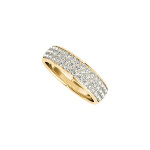 Marco B Three Rows CZ Broad Wedding Band in 14K Yellow Gold