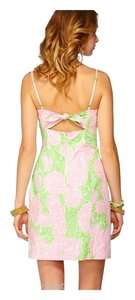 Lilly Pulitzer short dress Pink Cotton Tie Back Strapless Floral Short on Tradesy