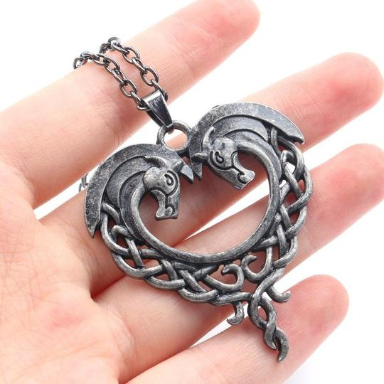 Other Celtic Horse Heart Pendant Necklace Hug Bow Knot Love Eternity Pewter Image 1