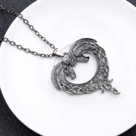 Other Celtic Horse Heart Pendant Necklace Hug Bow Knot Love Eternity Pewter Image 2